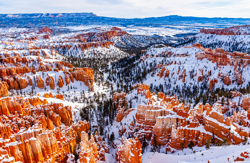 Sunrise in Bryce canyon in winter