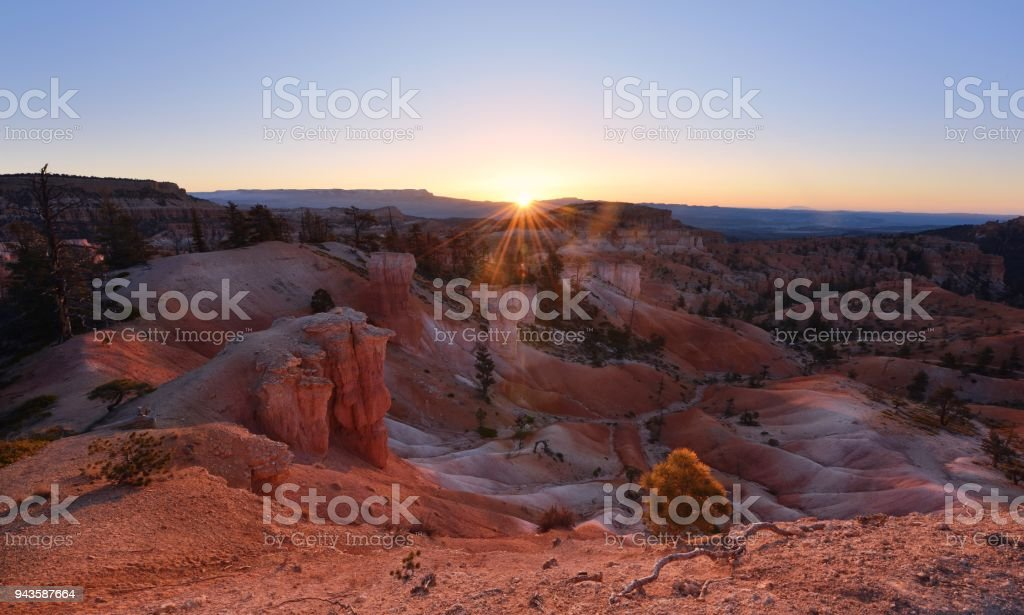 Bryce Canyon sunrise at Queen and Peek-A-Boo trails, Utah stock photo
