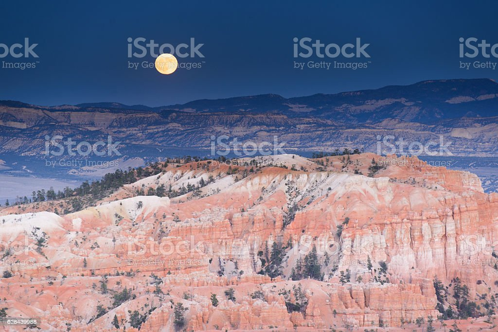 Bryce canyon with full moon stock photo