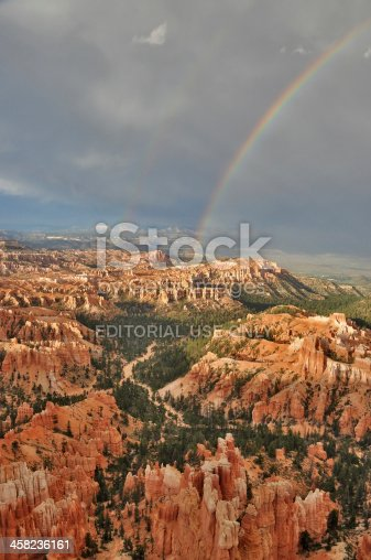 Bryce Canyon, USA - August 4, 2010: Upright format shot of Bryce Canyon in Utah, USA with two Rainbows after a thunderstorm in summer.