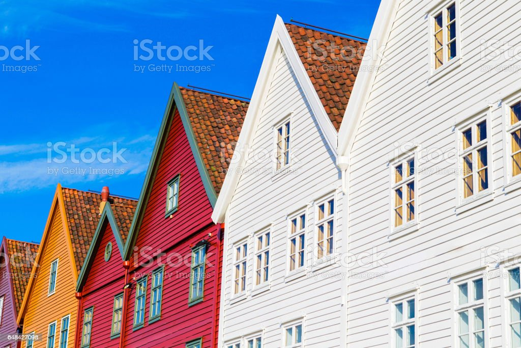 Bryggen district. Bergen, Norway. stock photo