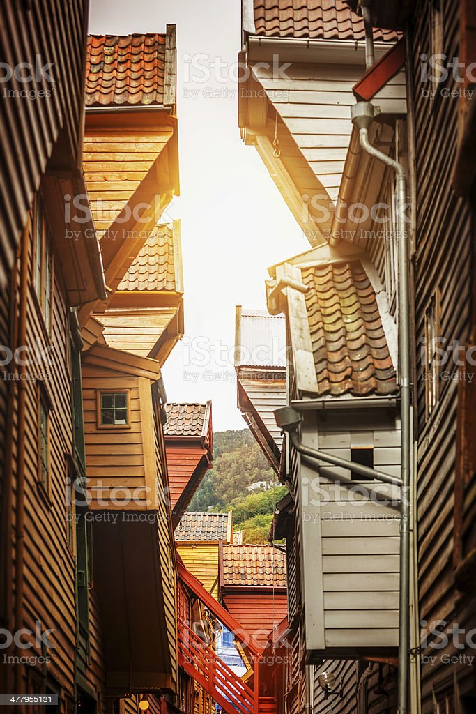 Bryggen old town wooden houses in Bergen stock photo