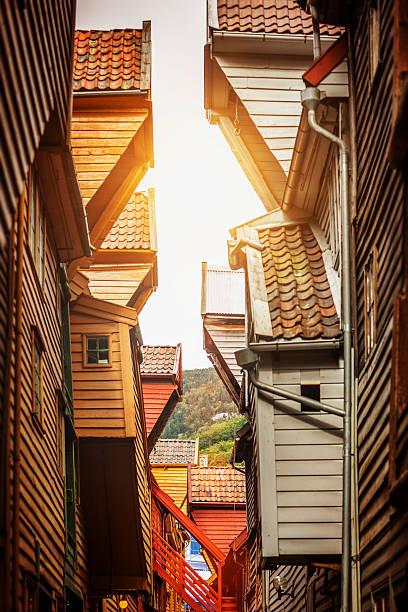 Bryggen vieille ville de maisons en bois de Bergen - Photo