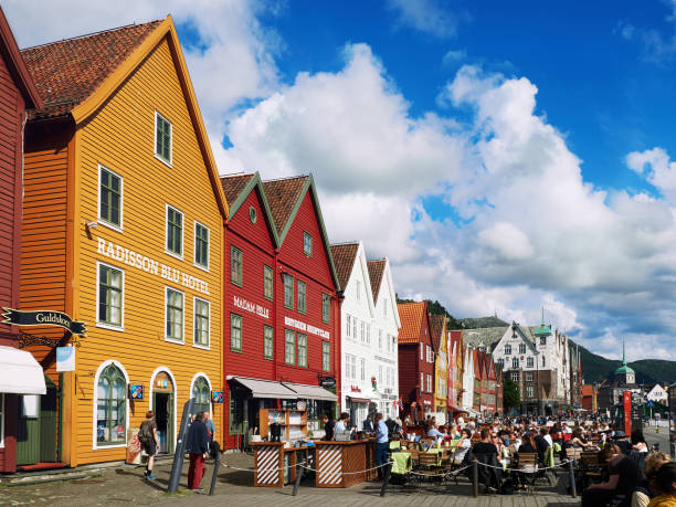 Bryggen street Bergen Norway stock photo