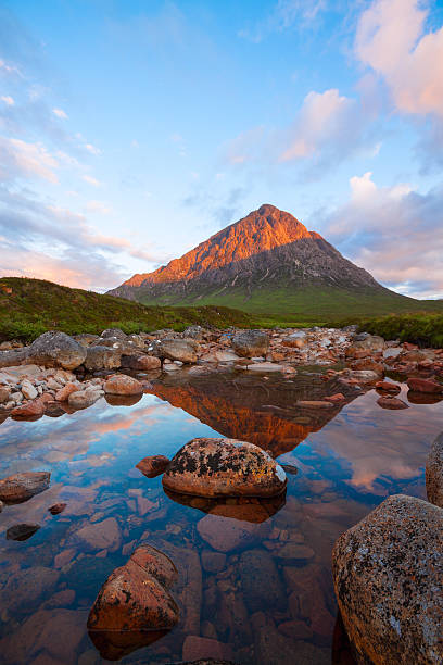 Buachaille Etive Mor and the River Coupall. stock photo