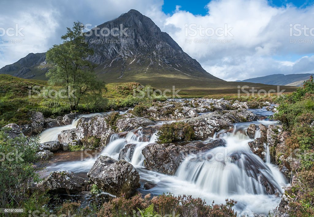 Buachaille Etive Mor and the waterfalls stock photo