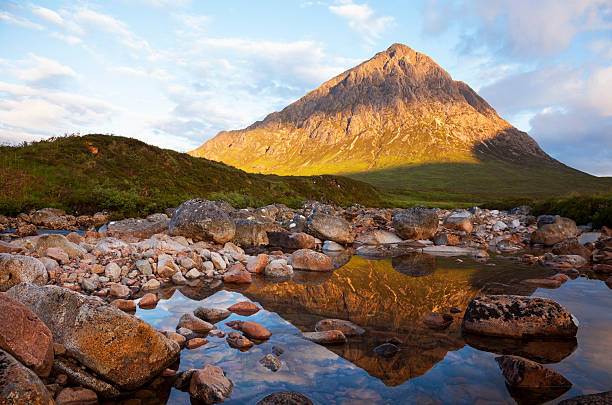 Buachaille Etive Mor reflected in the River Coupall. stock photo