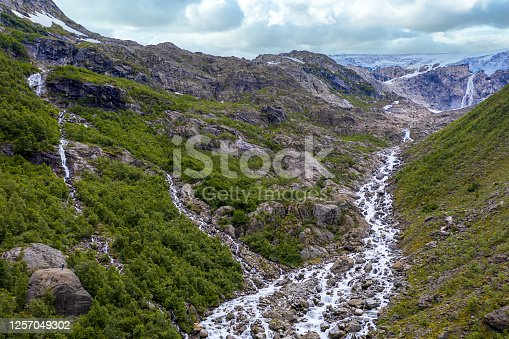 High angle view of Buarbreen Glacier, Odda, Norway