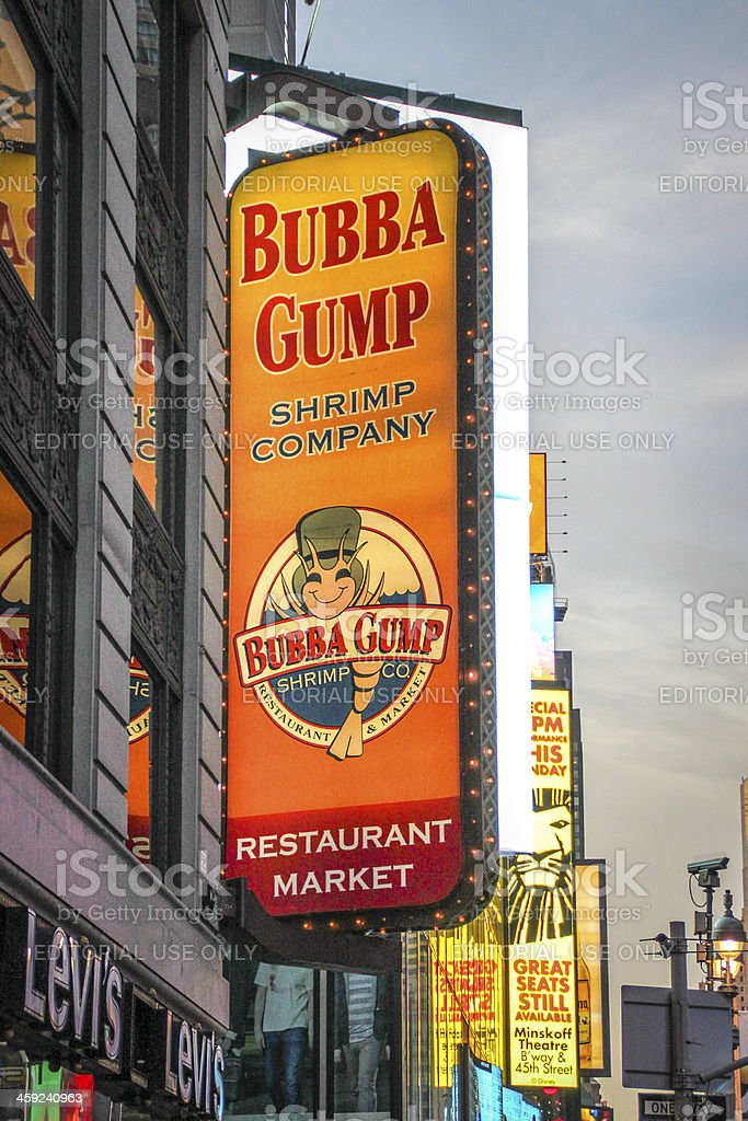 Bubba Gump Restaurant Sign at Times Square, New York royalty-free stock photo