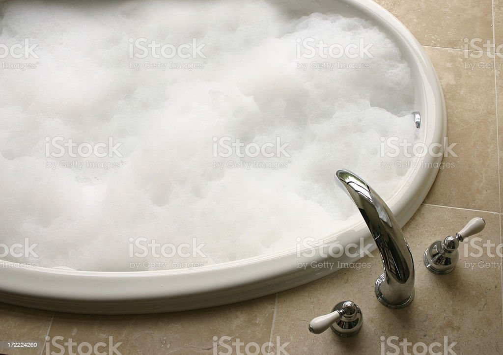 bubble bath, oval tub stock photo