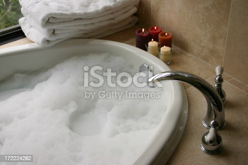 Bubble Bath With Candles Towels Stock Photo Amp More