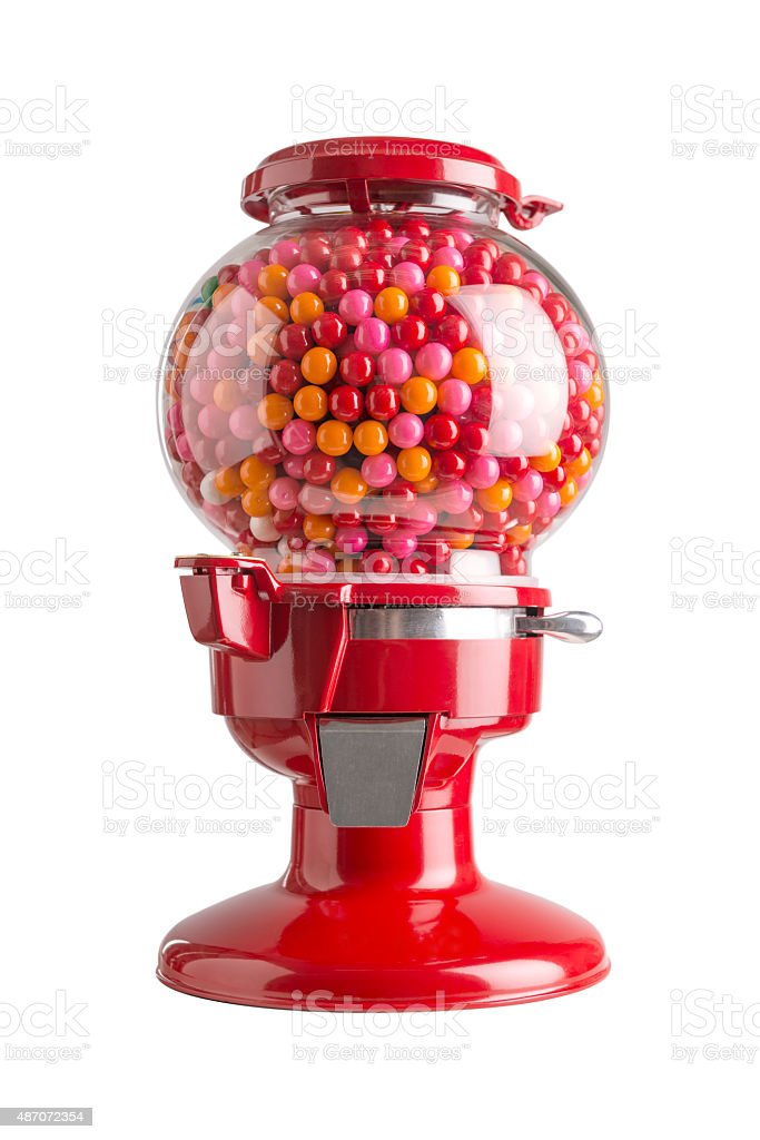 Bubble gum dispenser isolated on white background stock photo