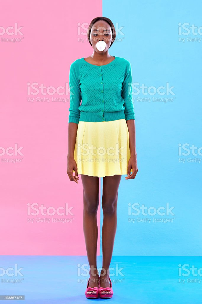 Bubble gum hipster stock photo