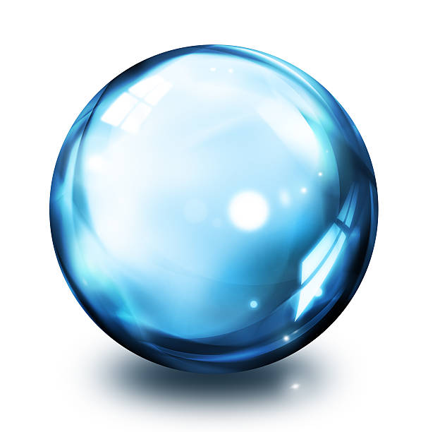 bubble icon - blue - ball stock photos and pictures