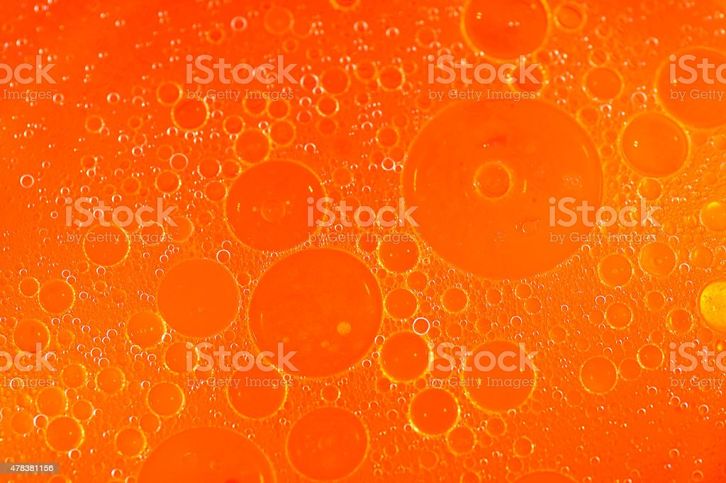 Bubble oil Abstract composition background, orange crush soda pop stock photo