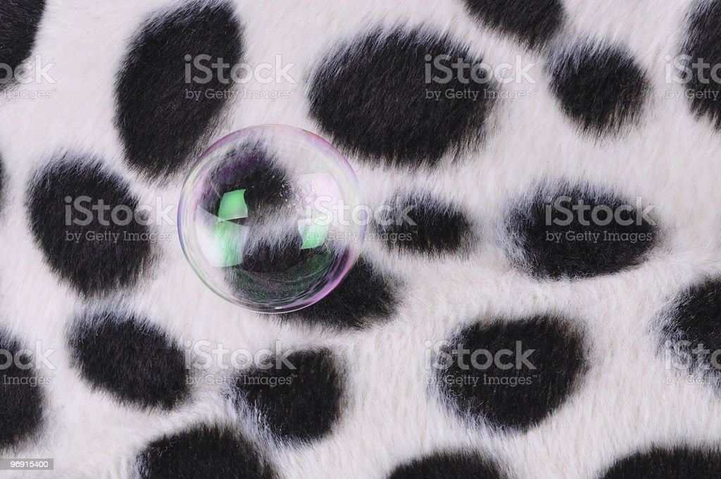 Bubble on patterned fur blanket royalty-free stock photo