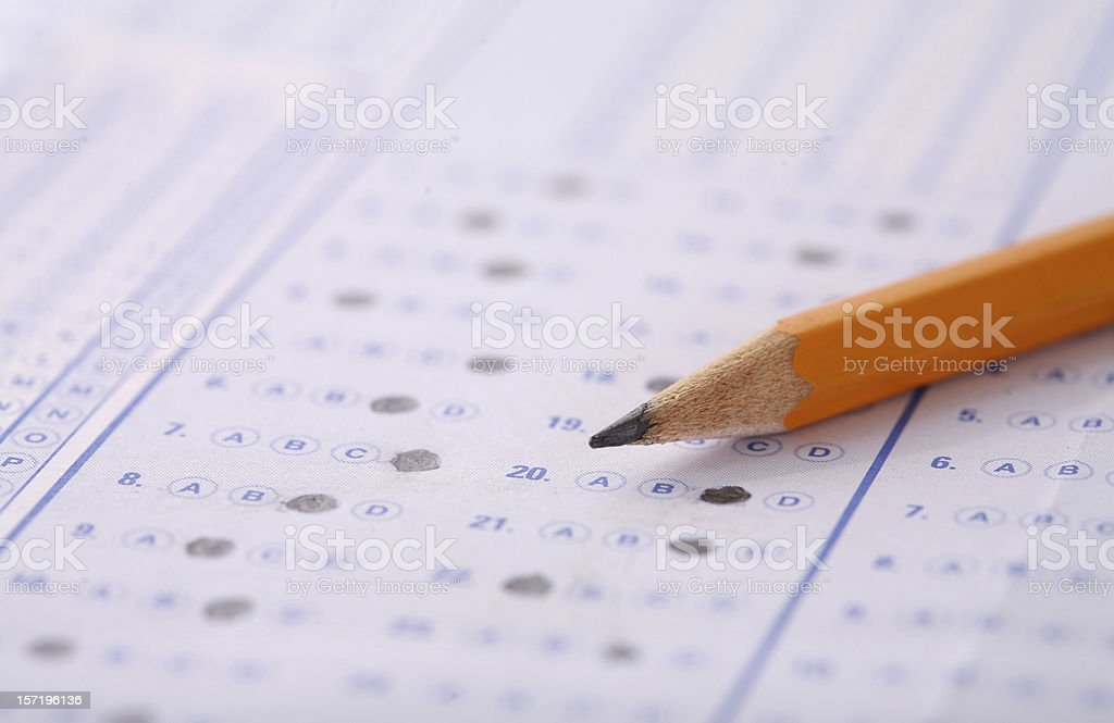 Bubble Sheet Test stock photo