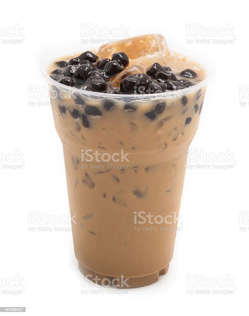 bubble tea brown isolated on white stock photo