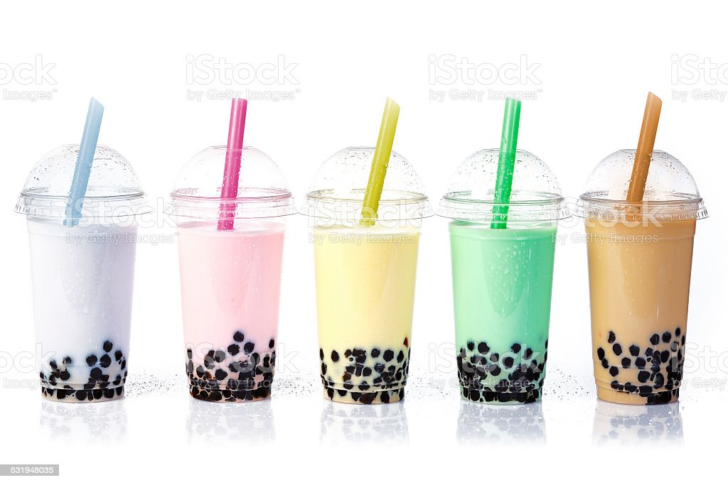 Bubble Tea in a row stock photo