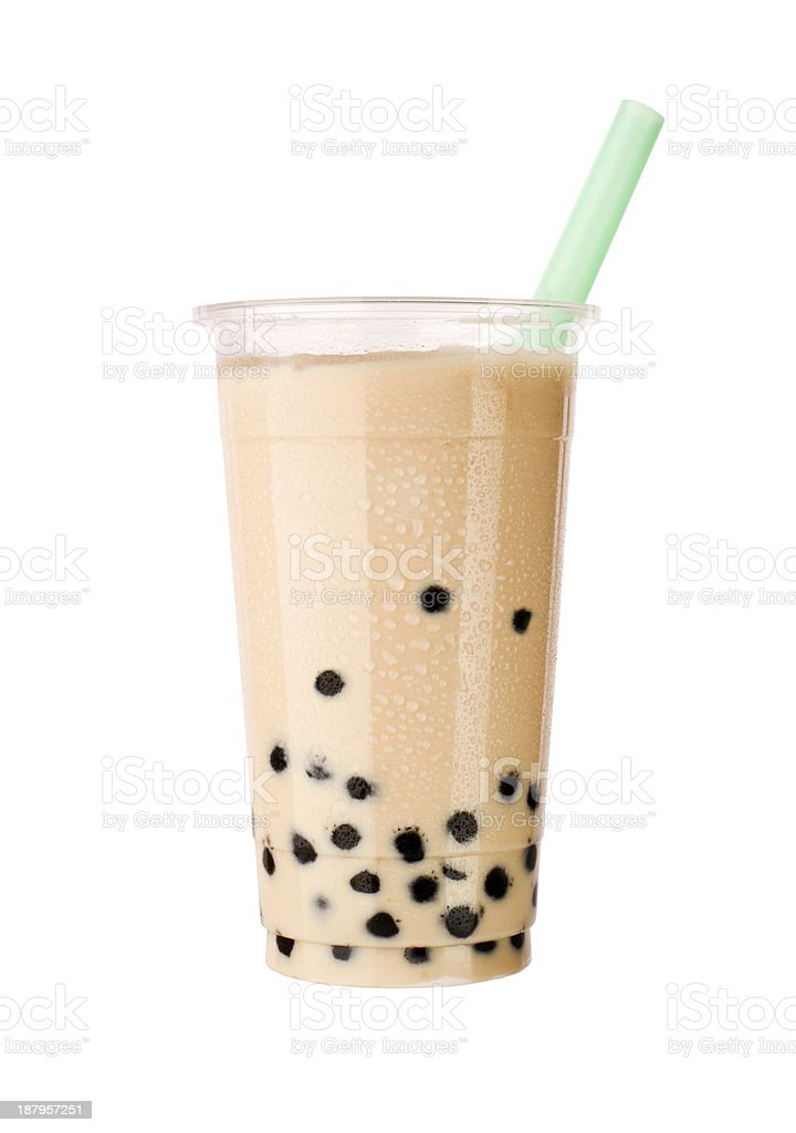 bubble tea with milk and tapioca pearls stock photo