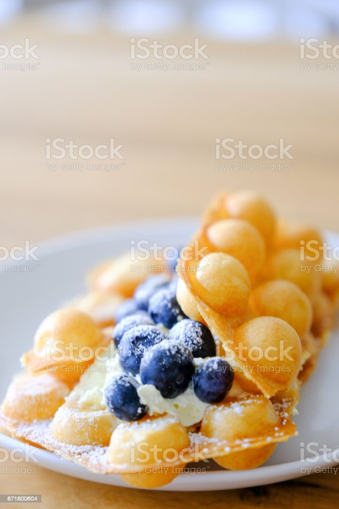 Bubble waffle, also knows as egg waffle, is a popular dessert treat from Hong Kong. – zdjęcie