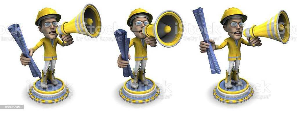 BubbleHead of a Construction Worker with Bullhorn and Blueprint royalty-free stock photo