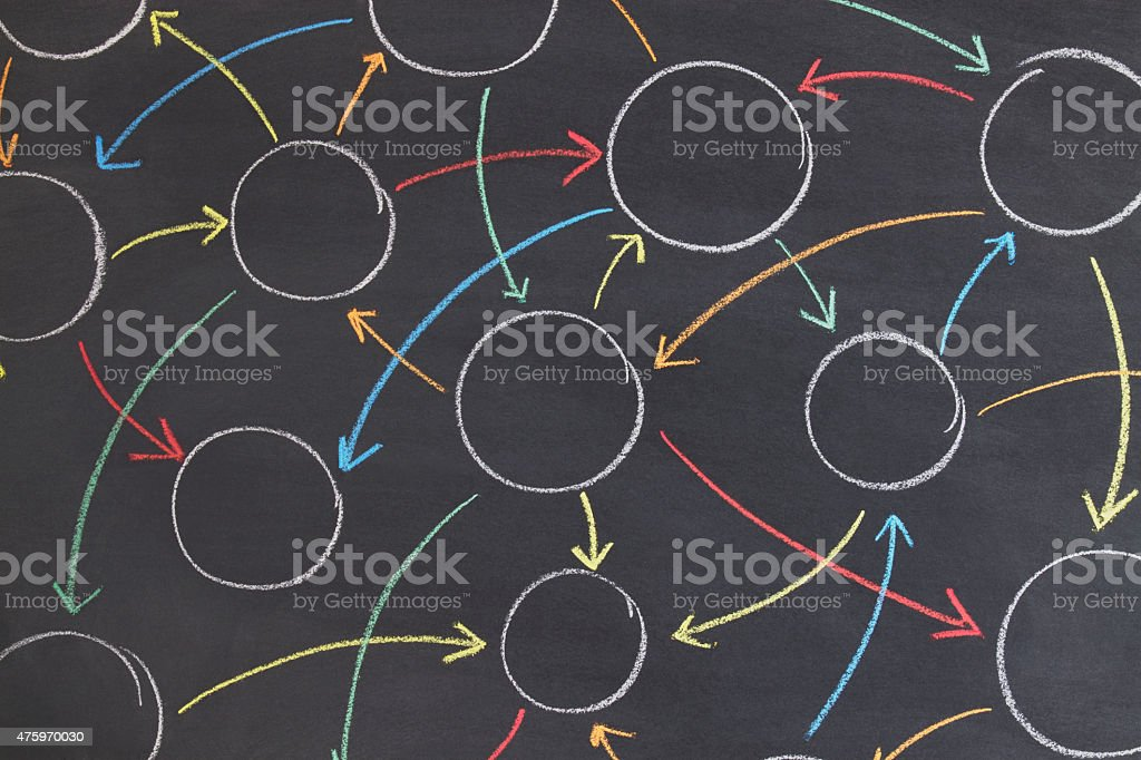 Bubbles Are Connected with Colorful Arrows on Blackboard stock photo