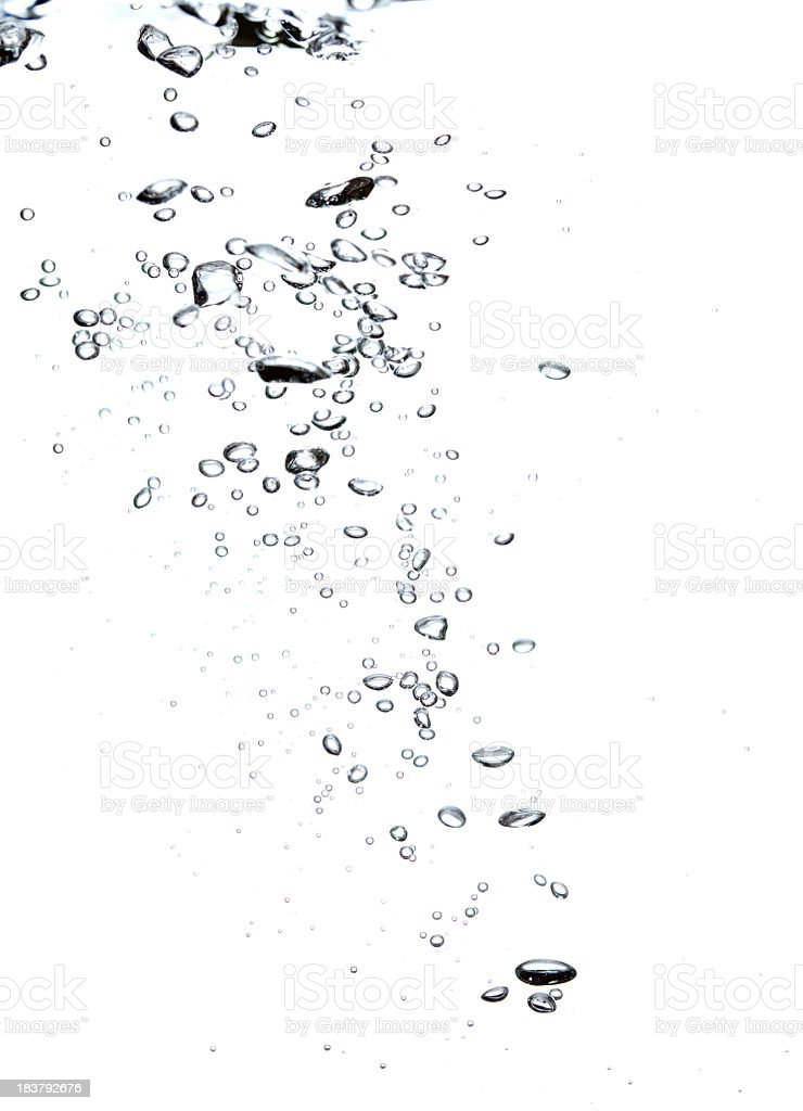 Bubbles in a diagonal shape on a white background stock photo