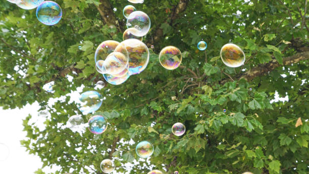 Bubbles in Flight 2 stock photo