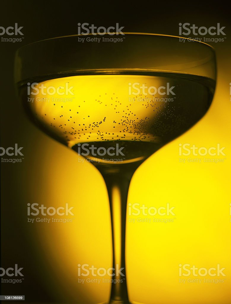 Bubbles in Glass of Champagne royalty-free stock photo