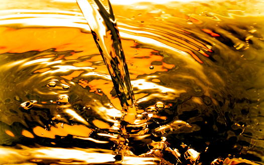 Bubbles in Water Oil beer gold Beautiful abstract background