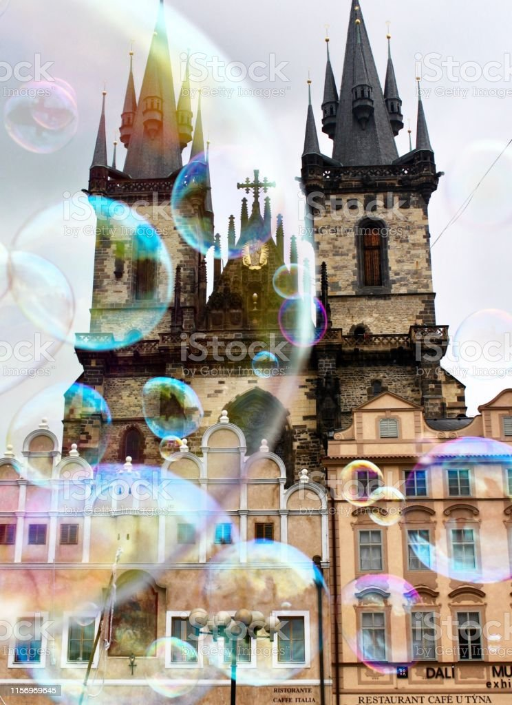 Bubbles Bubble Art outside of Church of Our LAdy before Tyn in Old Town Square - Prague, Czech Republic. Architecture Stock Photo