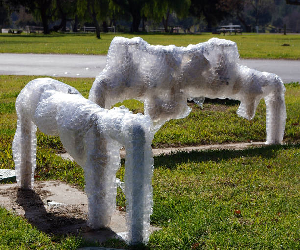 Bubble-wrapped water hydrants in a park stock photo