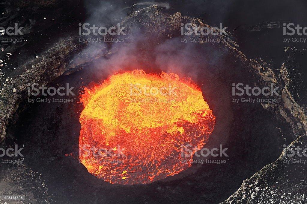 Bubbling burning lava lake inside Mount Marum. Ambrym island-Vanuatu. 5928 stock photo