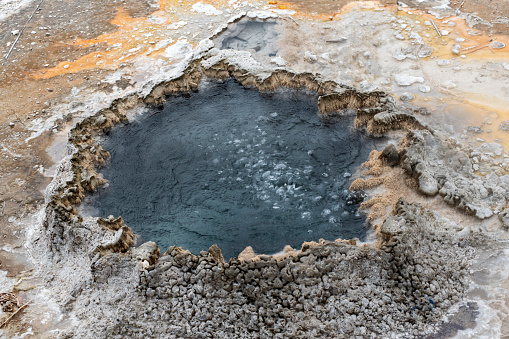 Bubbling pool at Upper Geyser Basin, Yellowstone National Park, Wyoming, USA