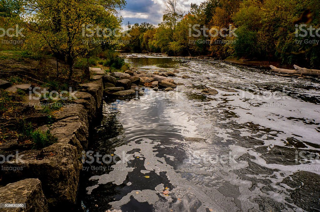 Bubbling Stream On A Quiet Nature Hike stock photo
