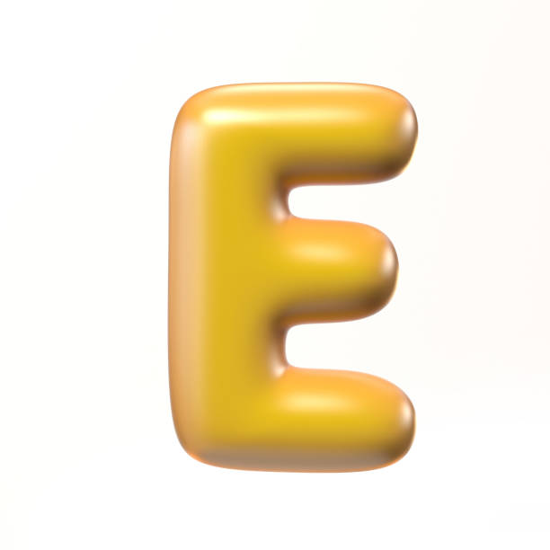 Bubbly 3d font letter E stock photo