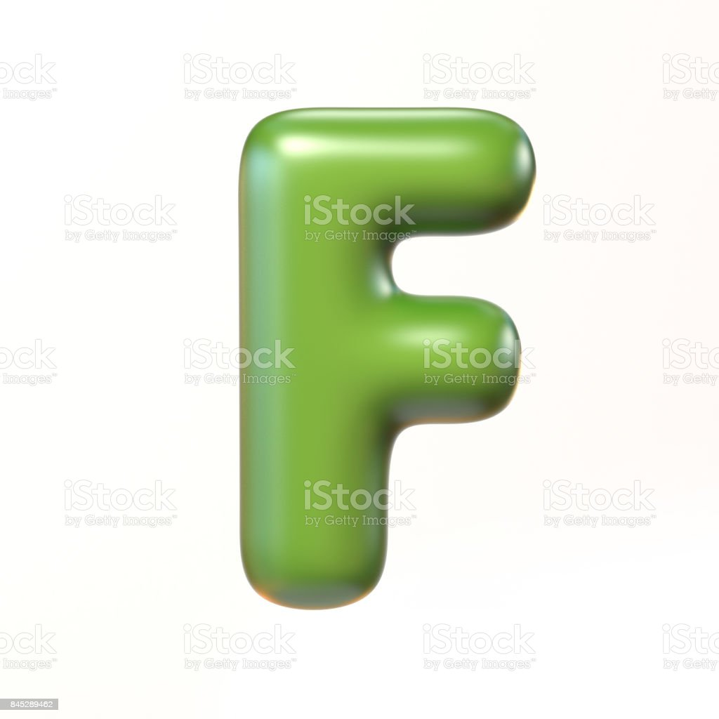 Bubbly 3d font letter F stock photo