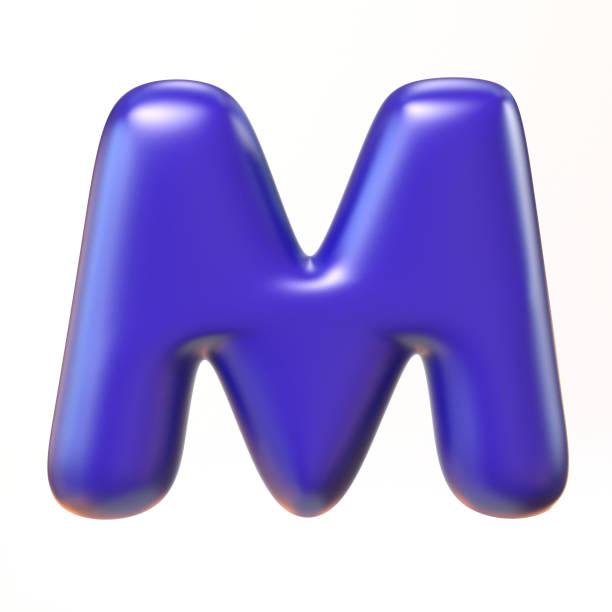 Bubbly 3d font letter M stock photo