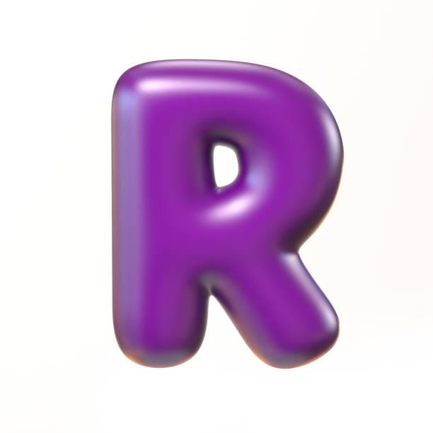 Bubbly 3d font letter R stock photo