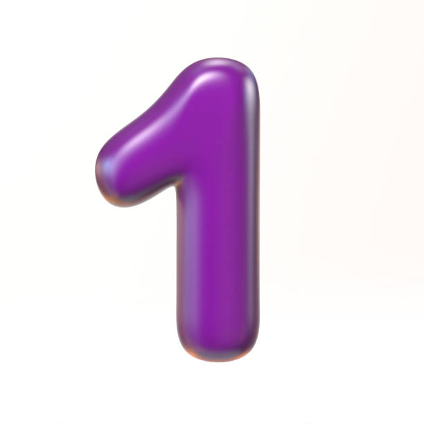 Bubbly 3d font number 1 stock photo