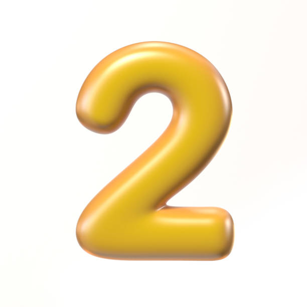Bubbly 3d font number 2 stock photo