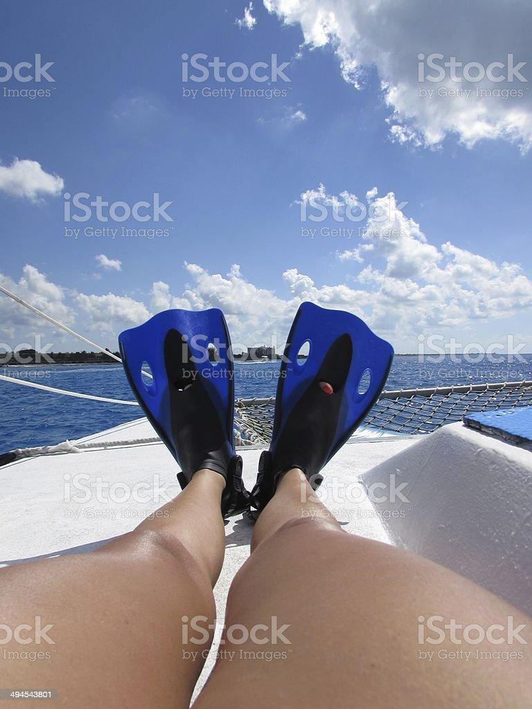 Bucear en el mar stock photo