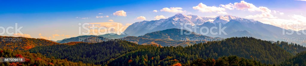 bucegi mountains view from rasnov, brasov, romania stock photo