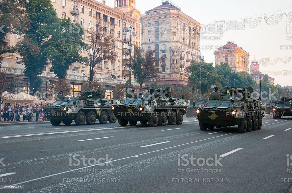 BTR-4 'Bucephalus' (BTR; Ukrainian Armoured Transporter) on military parade rehearsal stock photo