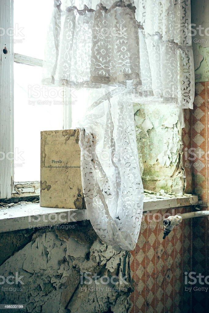 Buch am Fenster stock photo