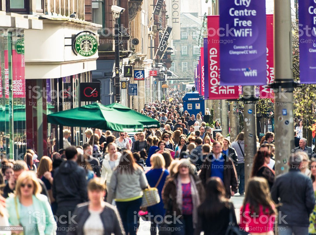 Buchanan Street in Glasgow busy with shoppers stock photo