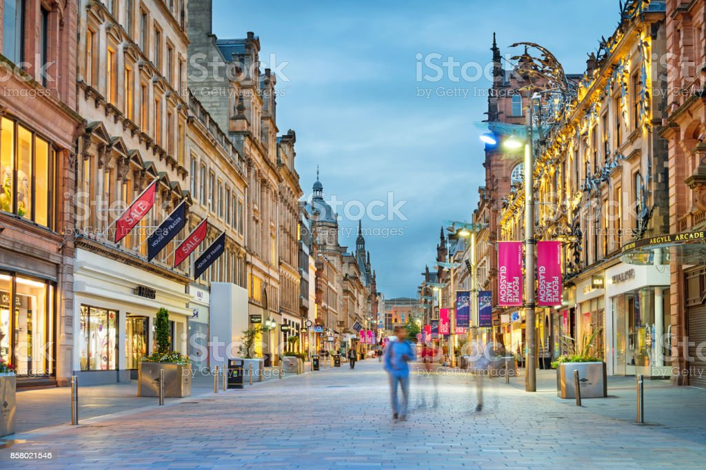 Buchanan Street shopping district in downtown Glasgow Scotland UK stock photo