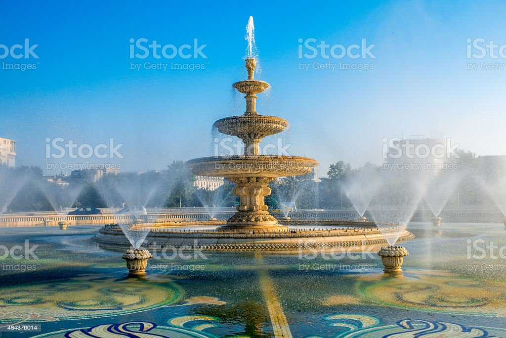 Bucharest central city fountain stock photo