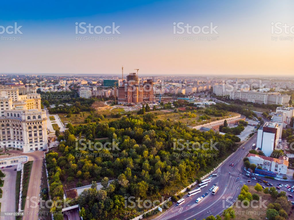 Bucharest city, aerial view at sunset stock photo